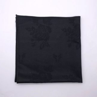 Black Coloured Linen Napkin With Rose Pattern