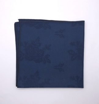 Navy Blue Coloured Linen Napkin With Rose Pattern