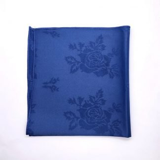 Royal Blue Coloured Linen Napkin With Rose Pattern